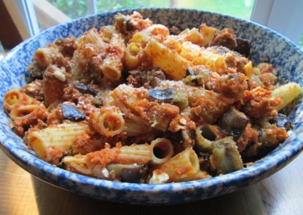 Rigatoni alla Disgraziata (Rigatoni with Eggplant & Bread Crumbs)