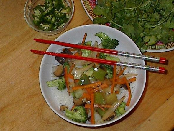 veggies on noodles