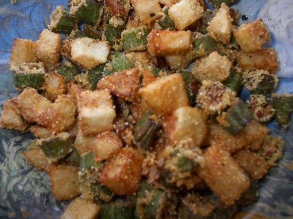 fried okra and potatoes