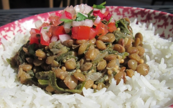 Lentils with Radish Leaves and Chimol (Salvadorian Salsa)