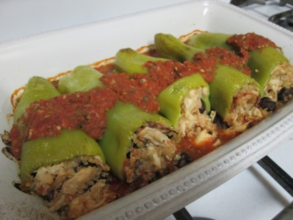 Cubanelle Peppers Stuffed with Chicken and Quinoa