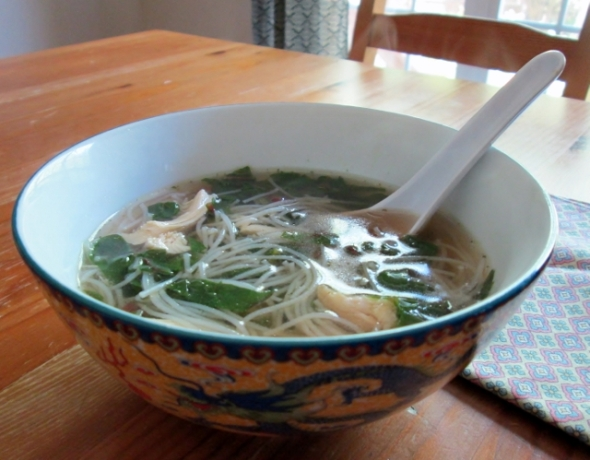 Vietnamese Chicken Noodle Soup with Greens