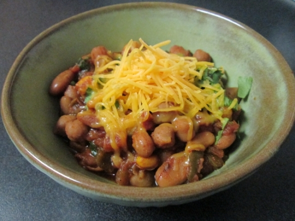 Crockpot Vegetarian Bean Chili with Peppers and Corn (640x480)
