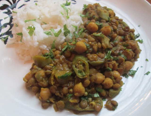 Curried Lentils with Chickpeas and Okra