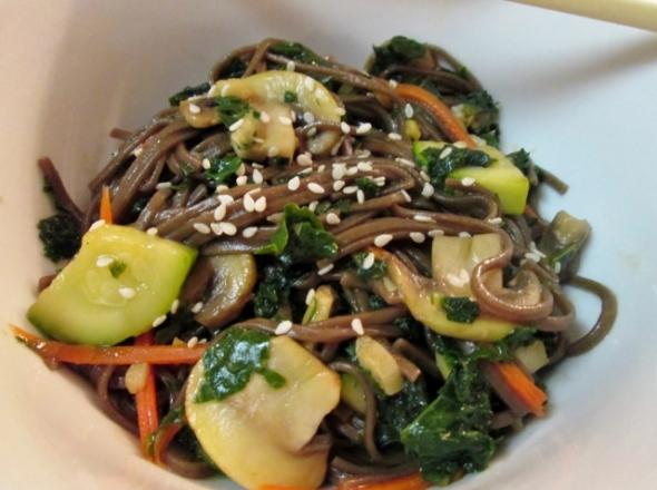 Kale and Mushroom Soba Noodle Bowl