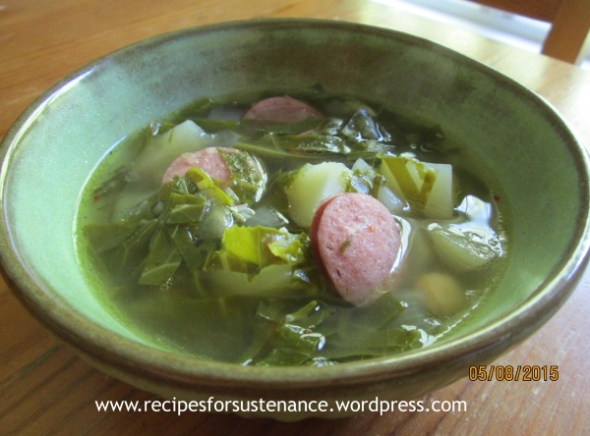 Collards and Chickpeas Soup with Sausage