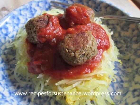 Eggplant Meatballs with Spaghetti Squash