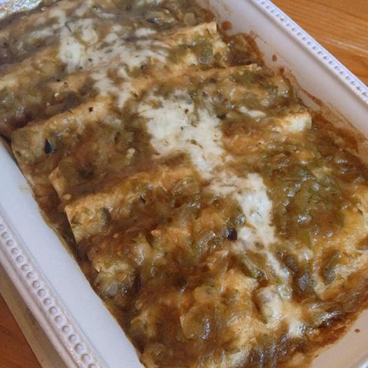 Chicken and Mushroom Enchiladas with Hatch Green Chile Sauce
