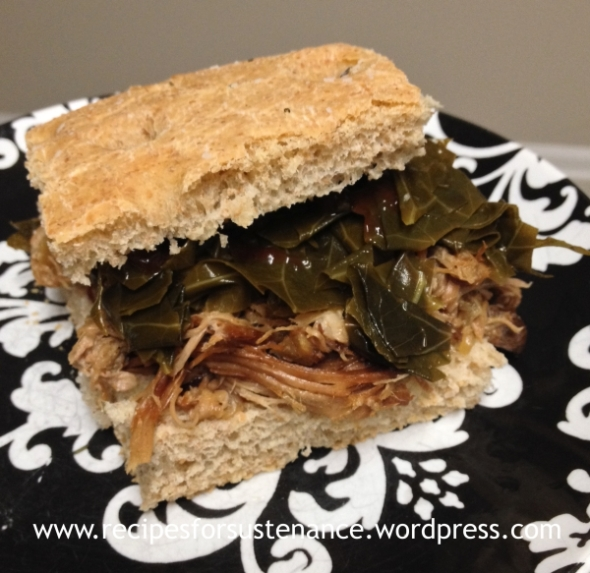 Crockpot Pineapple Pulled Pork on Rosemary Foccacia with Pickled Collards