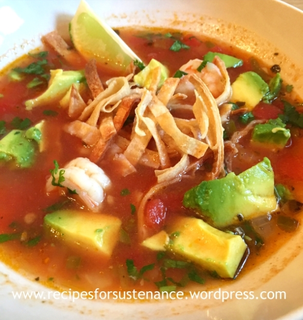 Tortilla Soup with Shrimp and Avocado